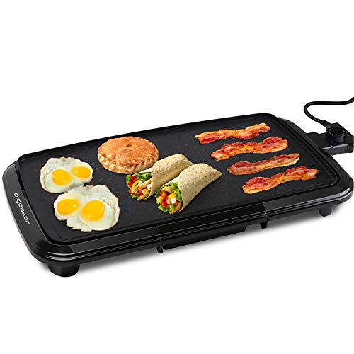 """Aigostar Electric Griddle Nonstick 1500W Pancake Griddle 8-Serving Electric Indoor Grill 5-Level Control with Adjustable Temperature & Oil Drip Tray for Easy Cleaning, 20"""" x 10"""" Family-Sized, Black"""