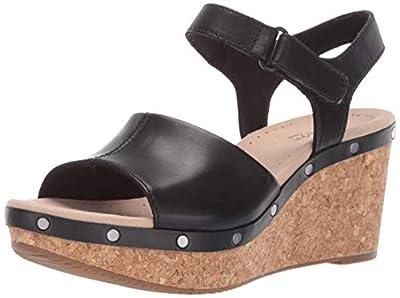 CLARKS Women's Annadel Clover Wedge Sandal, Black Leather, 100 M US