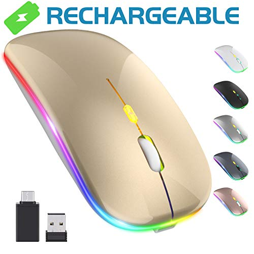 【Upgrade】 LED Wireless Mouse, Rechargeable Slim Silent Mouse 2.4G Portable Mobile Optical Office Mouse with USB & Type-c Receiver, 3 Adjustable DPI for Notebook, PC, Laptop, Computer, MacBook (Gold)
