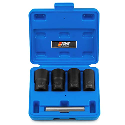 EWK 5 Pcs Lug Nut Extractor Set, Twist Socket Set, Bolt Remover, Nut Extractor, Metric Bolt and Lug Nut Extractor Socket Tool Kit
