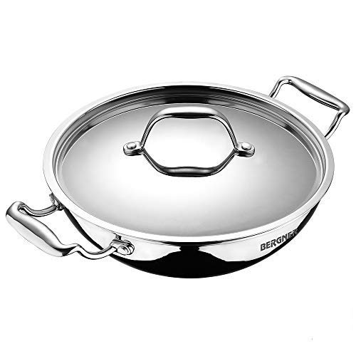 Bergner Argent Triply Stainless Steel Kadhai with Stainless Steel Lid,...