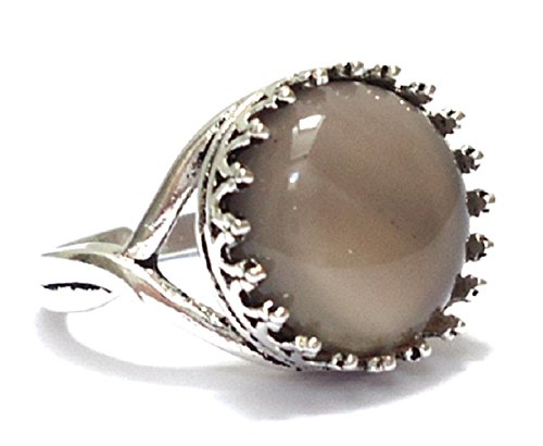 Vintage Style Antique Silver Plated Adjustable Ring with Grey Agate Gemstone Cabochon