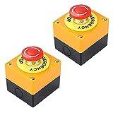 fregthf botón de Parada de Emergencia de 22 mm Muestra roja de la Seta Push Switch AC 660V 10A Auto Bloqueo Parada de la estación Box 2 Piezas