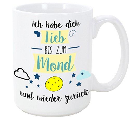 MUGFFINS Kaffeetassen für Verliebte - Ich Habe Dich lieb, bis zum Mond und Wieder zurück - 350 ml - Schöne und lustige Tassen mit Sprüchen, zu ver