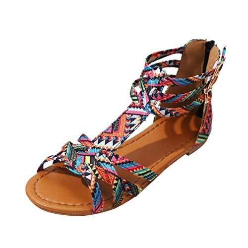 Qiusa Sandalias Mujer Damas Boho Beach Sandalias Planas de Verano Tamaño 3-9, Cómoda T-Strappy Flatform Toepost Slingback Amortiguado Zapatos para Exteriores (Color : Rosado, tamaño : 7 UK)
