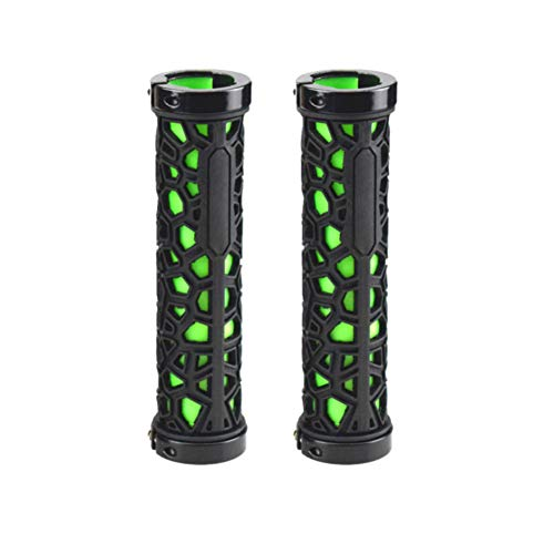 Handlebar Grips Rubber Water Cube Multicolor Mountain Bike Grips Super Light Double Lock On Grips With Aluminum Ring Lock