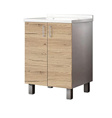 MaMa Store ATENALAV Mobile Lavatoio-Lavapanni Metacrilato con Asse in Legno e gocciolatoio in Alluminio, L.60 x P.50 X H. 86 cm, Bianco Opaco/Quercia Naturale