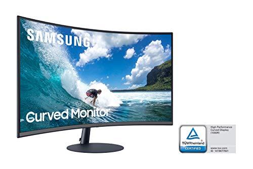 Samsung C32T550FDU 80,01 cm (32 Zoll) Curved Monitor (1.920 x 1.080 Pixel, 16:9 Format, 75 Hz, 4ms, 1000R, dual monitor geeignet, pc monitor, AMD FreeSync) dunkelblaugrau