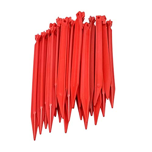 ToCi 24 x Kunststoff Heringe 30cm | Zeltheringe für Outdoor Camping Zelte Garten | Zeltnägel in Rot