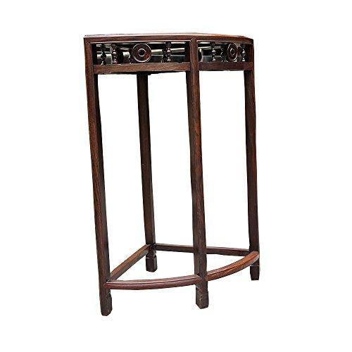 LHA Flower Shelf Mahogany Furniture Coffee Table Shelf Wood Shelf Semicircular Phone Flowerpot Modern Chinese Ebony Bedside (Color : 1)