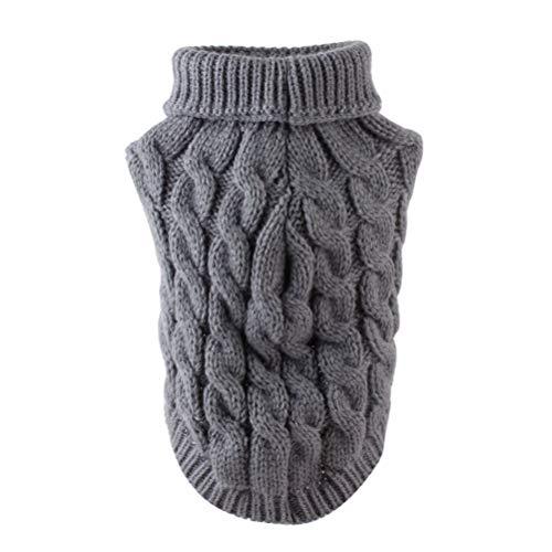 Balacoo Hundepullover Weihnachten Hund Rollkragenpullover Weihnachten Winter Strickwaren warme Haustier Pullover für Hundewelpen (grau Größe l)