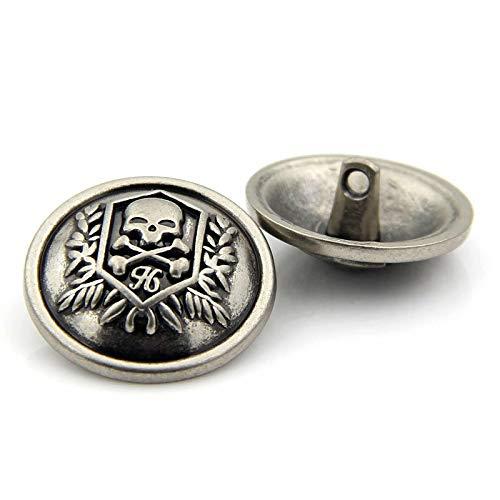 EWFD 12 Botones De Costura De Metal para áLbum De Recortes, Patrón De Cabeza De Calavera De Un Solo Orificio Redondo 20mm