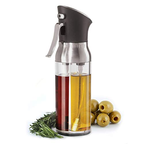 2in1 Tropffreie Olivenöl-Spenderflasche, Glas-Salatdressing-Flasche, Essig-Dosierer, Speiseöl-Gewürzbehälter und einfacher Ausgießer für Küche