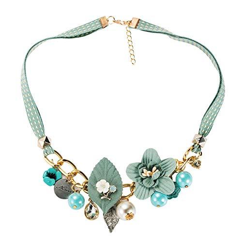 Tianziwen Vintage coreano verano flores gargantilla collares para mujer étnica hecho a mano simple salvaje retro tela flor mujer banquete collares