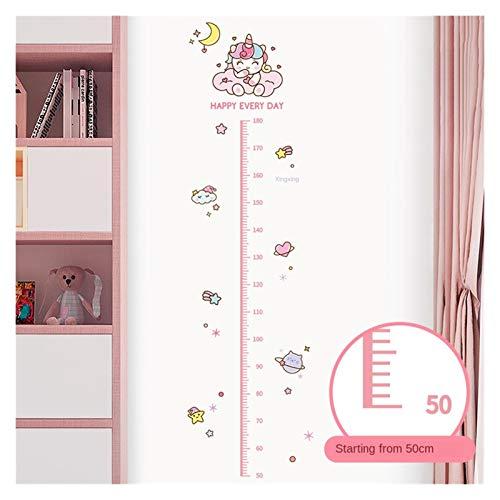 Pegatinas de pared Papel tapiz de la regla de altura Dibujos animados rosado de la medición de la altura de la muchacha pegatinas de la pared para niños de la sala de crecimiento de la sala Nursery