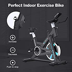Exercise Bike Stationary Indoor Cycling Bikes - 35 lbs Flywheel Belt Drive Bicycle with LCD Monitor, IPad Mount, Comfortable Seat Cushion for Home Cardio Workout Bike Training