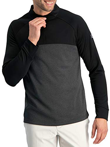 Golf Half Zip Pullover Men - Lightweight Fleece Sweater Jacket, Dry Fit Golf Shirt Jet Black