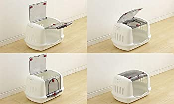 Iris Ohyama, Small pet carrier / carrier small pet, house, 2 side notches for seat belt, 2 openings (front & top), pour chat, chien, rongeur - Pet House & Carry P-HC480 - Blanc