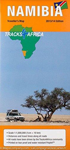 Namibia Straßenkarte 1:1 Mio. mit Entfernungstabelle + Fahrzeiten, Ortsregister, Stadtplan von Windhoek und Sehenswürdigkeiten, wasser- und reißfest – Tracks4Africa Traveler's Map