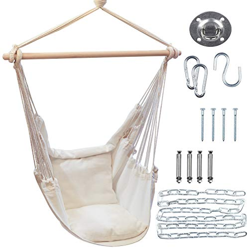 MY IDEAS Hammock Chair with Hardware Kit  Max 330 lb  2 Removable Cushions for Bedroom Patio Deck  Cozy Comfy Relax Day and Night