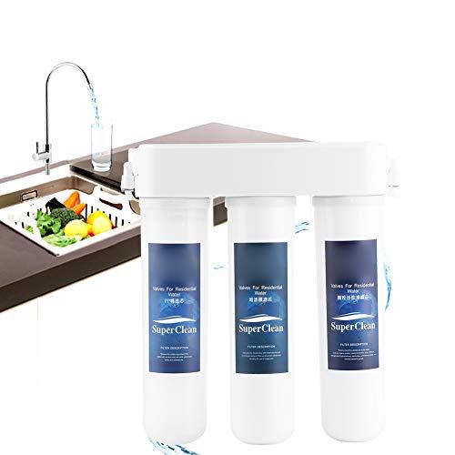 Cikonielf Filtro de agua bajo el fregadero, purificador del agua doméstica, para la filtración del agua potable, se puede instalar debajo del fregadero.