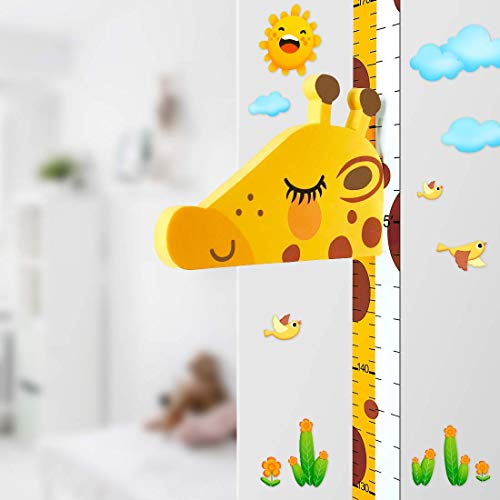 Baby Messlatte Höhe Diagramm für Kinderziemmer Dekoration, 3D beweglicher Giraffenkopf Höhenmesser Kindergarten Tier Wandabziehbild Gelb