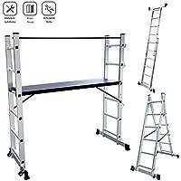 Roadp - Estructura de aluminio multiusos, con tablero MDF, escalera antideslizante, capacidad de carga de hasta 150 kg, escalera plegable multifunción con 2 puntales y 2 ruedas (2 x 6 niveles)