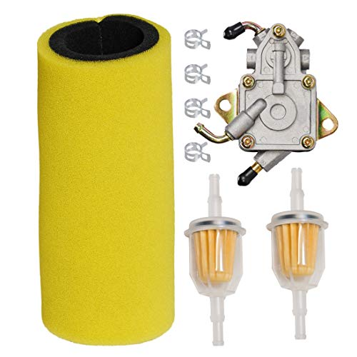HIFROM Dual Stage Foam Air Filter with Fuel Filter Fuel Pump Tune Up Kit for Yamaha 2004-2007 Rhino 660 YXR660,2007-2009 Rhino 450 YXR450 Replace 5UG-E4451-00-00, 5UG-13910-01-0