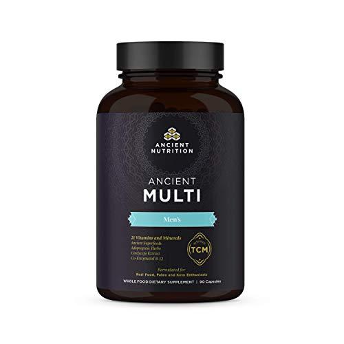 Ancient Multi Men's - 21 Multi Vitamin & Immune System Support, Co-Enzymed B-12, Adaptogenic Herbs, Paleo & Keto Friendly, 90 Capsules