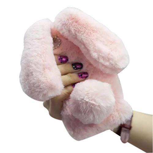 Iphone 7 Fur Rabbit Case,iPhone 8 Case,Jesiya Cute Toy Warm Handmade Bunny Furry Soft Rabbit Fur Hair Lace Flower Bumper Plush Case Cover For Iphone 7 4.7'