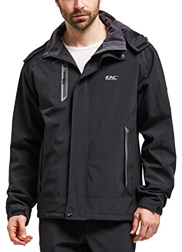 Men Hooded Waterproof Jacket-Diamond Candy Casual Lightweight Rain Softshell Raincoat Outdoor Sportswear (Large, Black)