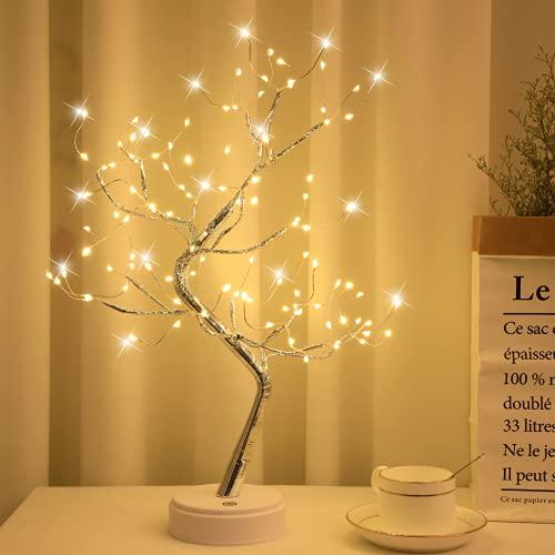Arbol LED Decorativo, Lámpara de Mesita de Decoración con 108 Luces, Alambre de Cobre Ajustable, Decoración del Hogar, Navidad, CREA un Ambiente Romántico y Cálido