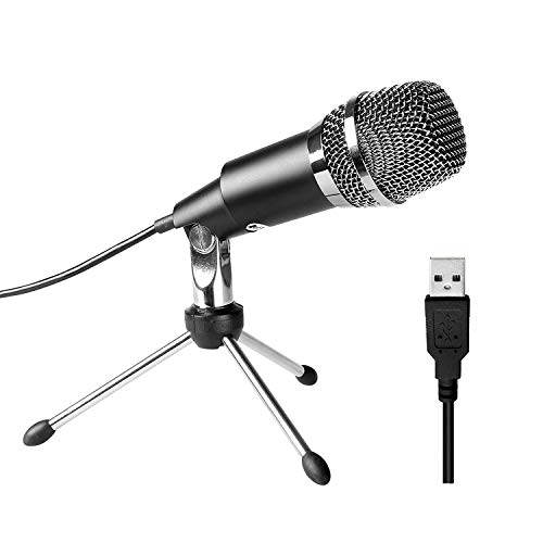 QCHEA USB Microphone, Plug and Play Home Studio USB Condenser Microphone for Skype, Recordings for YouTube, Google Voice Search, Games-Windows or Mac