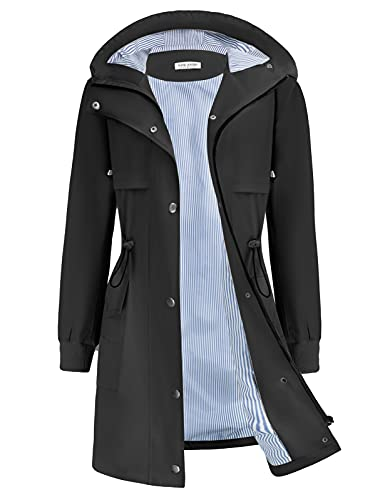 Plus Size Rain Coats for Women Lightweight Rain Jackets Waterproof with Hood Outdoor Long Coats Black XL