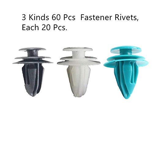 3Kinds - Juego de 60 remaches de sujeción para parachoques de coche