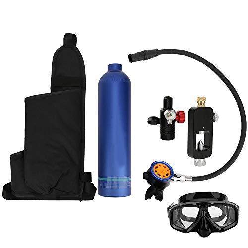Tbest Tauchausrüstung, 1L Tauchlufttank Blauer Aluminium Unterwasser Sauerstoffflasche Tragbarer Mini Tauchzylinder Rebreather mit Sekundäratemventilköpfen aus reinem Metall