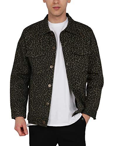 ZIOLOMA Mens Leopard Print Trucker Jacket Lightweight Rugged Canvas Cotton Shirt Jacket Green