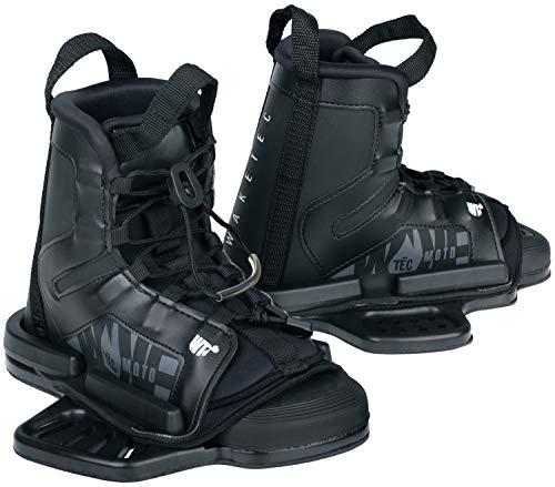 WAKETEC Wakeboard Bindung Moto, Größen 34-47 EU - S/M, L/XL, großer Verstellbereich, komfortabel, Fester Halt, universelles Lochbild, Wake-Binding Boots Schuhe, Kinder Erwachsene, schwarz, Größe:L-XL