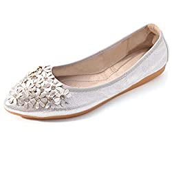 Silver-2 Foldable Ballet Flats Rhinestone Pointed Toe Slip on