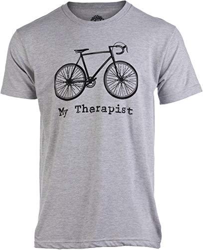 My Therapist (Bicycle) | Funny Bike Riding Rider Cycling Cyclist Man T-Shirt-(Adult,XL) Heather Grey