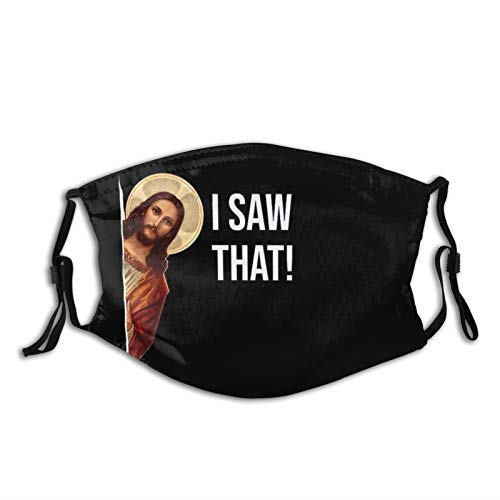 Jesus Meme I Saw That Funny Reusable Face Mask Scarf, Adjustable Washable -Anti Dust Fashion Bandana With 2 Filter, For Women & Men