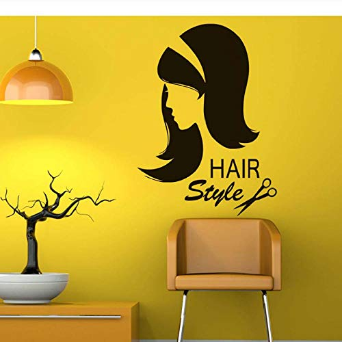 Wandaufkleber Salon De Coiffure Stickers Muraux Ciseaux De Vinyle Sex Girl Coupe De Cheveux Décalque De Mur Intérieur Salon De Coiffure Amovible Cheveux Style Beauté Salon