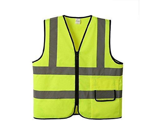 Lantra Besa Damen Herren Sicherheitsweste Warnweste für Radfahren und Joggen mit Reißverschluss Tasche Hohe Sichtbarkeit Gelb AR0010 - Nicht-Standardgröße S