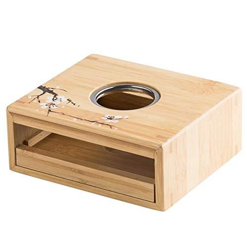 Cobeky Calentador de té de bambú titular de la calefacción del calentador de la vela del termóstato del estilo japonés del vino de la base de la tetera