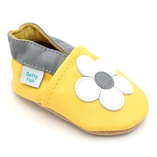 Dotty Fish weiche Leder Babyschuhe. Rutschfesten Wildledersohlen. 12-18 Monate (21 EU). Gelb mit weißer Blume.