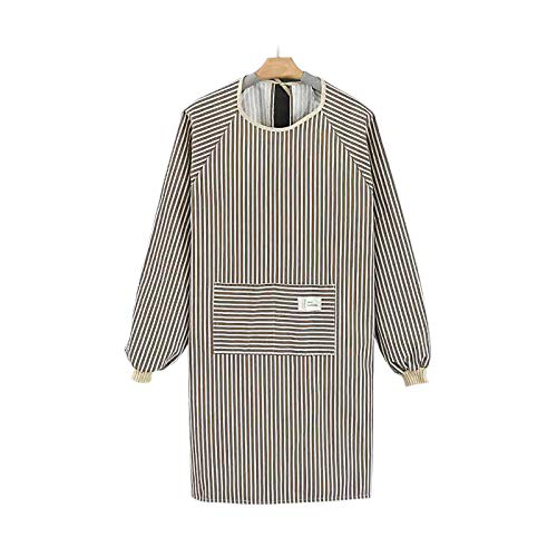 Cotton Linen Long Sleeve Aprons for Women, Cooking Gardening Chef Painting Cute Work Apron For Teen Girls Adult Smock Dress Bbq Comfortable And Breathable Aprons (Strip brown)