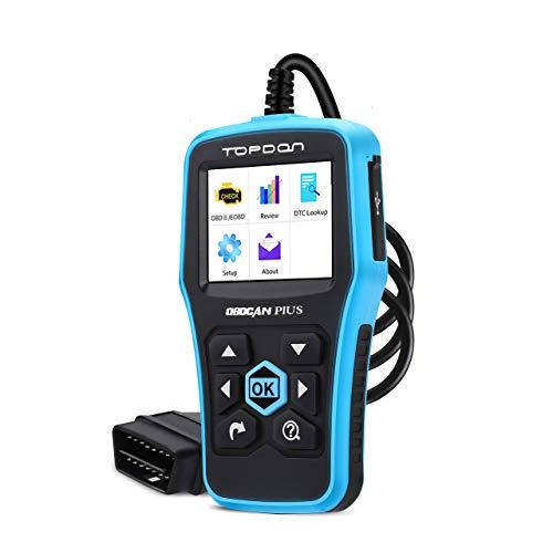 TOPDON Code Reader Plus 3.0 OBD2 Escáner de Avería del motor Comprobación de Apagado de la luz del motor Prueba de Emisiones para ITV OBDII con Gráficos en Vivo DTC Búsqueda Error