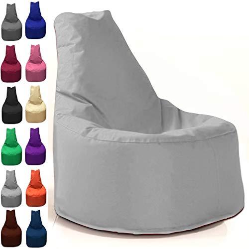 Sitzbag Sitzsack Sessel XL - XXL für Kinder und Erwachsene - In & Outdoor Sitzsäcke Kissen Sofa Hocker Sitzkissen Bodenkissen (XXL - 80cm Durchmesser, Grau)