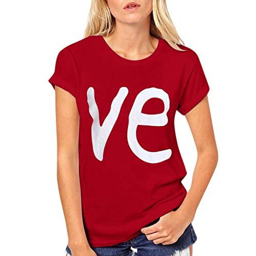 KEERADS- Couple Femmes Amoureux Shirt Couples Tees Shirts Manches Courtes Love Lettre d'amour Imprimer T-Shirts Tops Blouses Eté Casual Col Rond Manche Courte Amants Chemise Cadeaux