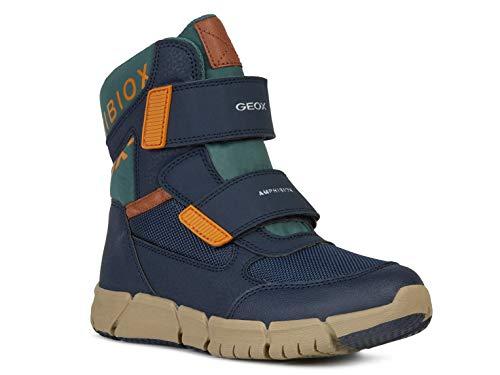 Geox Jungen High-Top Sneaker FLEXYPER Boy ABX, Kinder Sneaker,Sportschuh,Sneaker-Stiefelette,mid-Cut,atmungsaktiv,Navy/ORANGE,28 EU / 10 UK Child